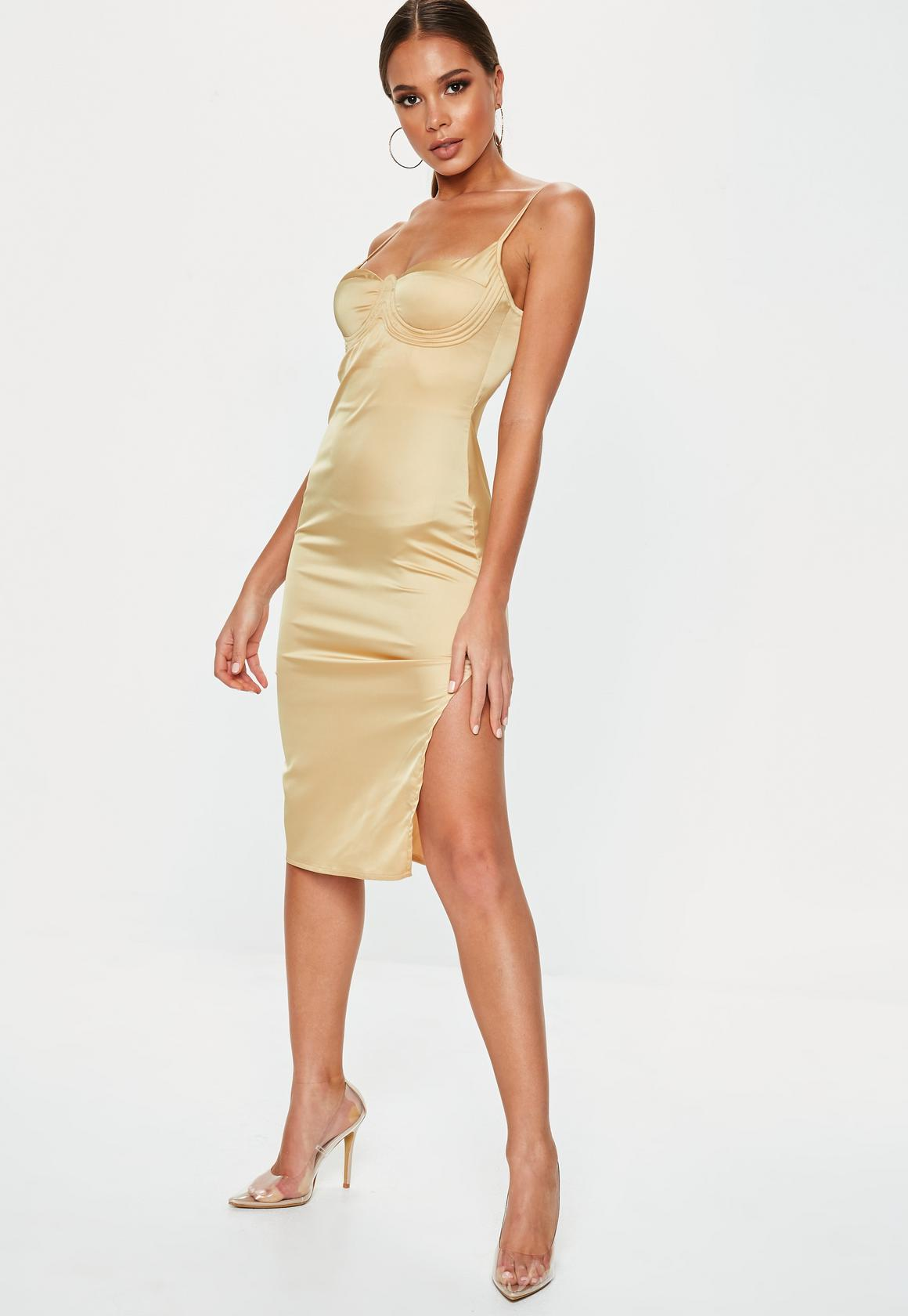 gold-satin-bust-cup-midi-dress-2